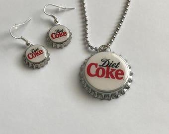 Diet Coke Handmade Bottle Cap necklace with mini bottle cap earrings altered art
