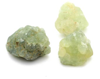 Large Raw Nuggets of Green Prehnite 25-30mm 3pcs