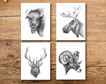 Animal Nursery Art - Animal Nursery Art Prints - Mountain Animal Nursery Art - Unique Animal Nursery Art - Animal Nursery Wall Art Print Set