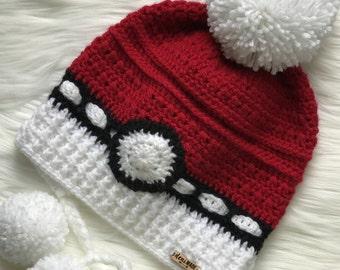 Carla *Pokeball Inspired* Earflap Pom Pom Slouch Hat (Crochet)