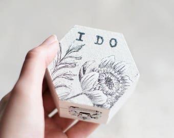 "Ring Bearer Box, Wedding Ring Box, Small Wedding Box, Box with flower ""I Do"", Ring  Holder, Rustic Ring Box, Rustic Wedding Box, Rustic Box"