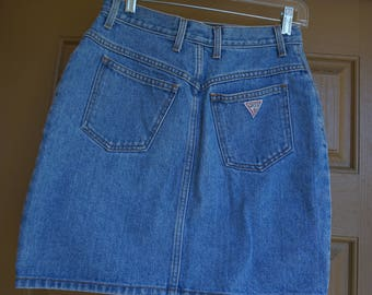 Vintage high waisted medium large size 31 denim Guess jean skirt  80s 90s 1980s 1990s mini