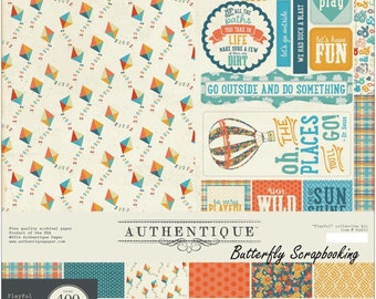 """AUTHENTIQUE Playful Collection 12"""" X 12"""" Collection Kit, Double-sided Papers with Stickers and Die Cuts, Scrapbook and Paper Craft"""