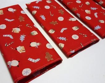 Red Holiday Cloth Napkins / 12 inch Cloth Napkins