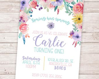 PRINTABLE Spring Birthday Invitation  - Spring has Sprung - Spring Baby Shower - Spring Invite - Floral Girl Birthday Party