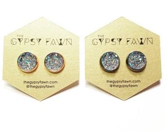 Blue Gray Large Galaxy Druzy Stud Earrings