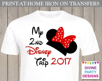 INSTANT DOWNLOAD Print at Home Red Girl Mouse My 2nd Disney Trip 2016 Iron On Transfer / ...