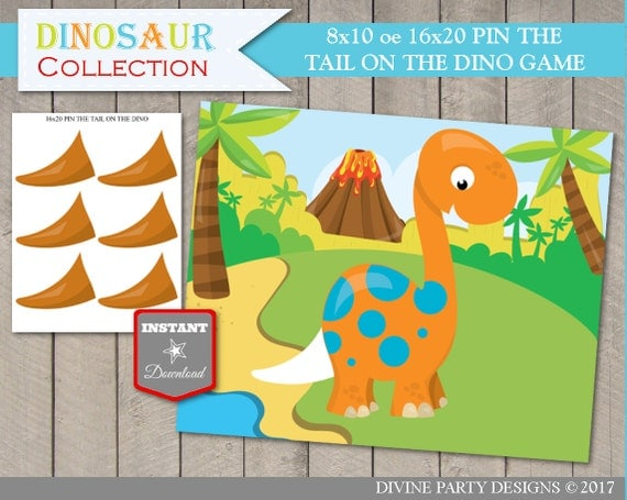 INSTANT DOWNLOAD Printable Pin the Tail on the Dinosaur 8x10 or ...