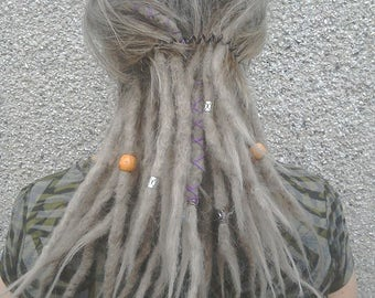 30 Grey/Silver Human Hair Dreadlocks Extensions for Partial Install