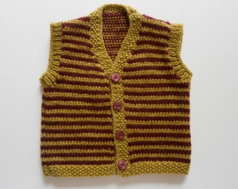 Hand Knitted Two Coloured Stripey Waistcoat for 3 - 6 months in Green and Burgundy