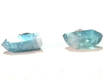 Aqua Aura Quartz Earrings, Simple and Iridescent