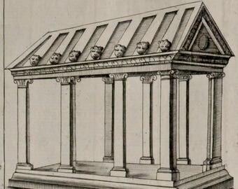 "Gorgeous 1690 antique engraving.In folio.12.4x8.7 inches""Vetusta Monimenta""Ciampini.327 years old.Antique Architecture,Archeology.32x22 cm."