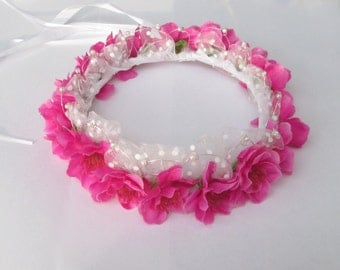 Hair wreath for flower girl, bridesmaid pink flower Crown, hair wreath flower girl bridesmaid wedding Crown