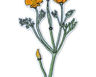 Chain Stitch Patch- Flowering Golden Poppy Plant
