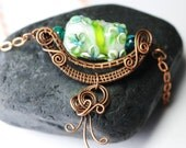 Lampwork Glass Pendant - Wire Wrapped - Copper Wire - Copper Jewelry -Glass Pendant - Lampwork Jewelry - Copper Chain - Gift - Made in AK