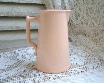 Antique french blush pink water pitcher. Ballerina pink. Powder pink. Blush pink dishes. Pale petal pink. Shabby pink decor. Minimalist
