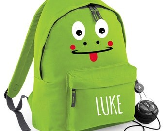 Personalised Frog Backpack with ANY NAME Kids Children Teenagers School Uni Student rucksack