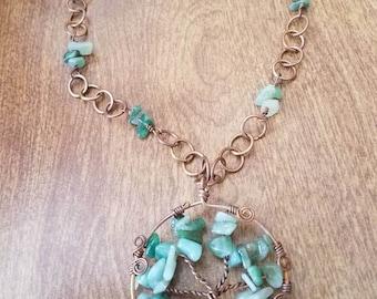 Green aventurine jade tree of life bronze necklace