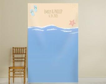 Personalized Photo Backdrop Flip Flops and Starfish, Beach Photo Background, Photobooth Backdrop , Beach Wedding Photo Backdrop (40126)