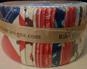 """Riley Blake Cowboy Rolie Polie 2.5"""" Fabric Quilting Strips Jelly Roll RP-5630-40"""