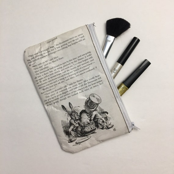 Alice in Wonderland Book Themed Pencil or Make-up Pouch - The Mad Tea Party 2