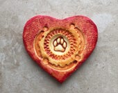Heart with paw outline, handmade polymer clay focal pendant cabochon