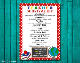 Teacher Appreciation Gift. First Day of School Teacher Gift. Gift for Teacher. Teacher Survival Kit. Survival Kit for Teacher Thank You Card