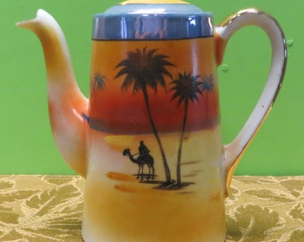 "Beautiful 1930's Desert Scene 6 1/2"" Tall Lustreware Teapot - Made In Japan - Free Shipping"