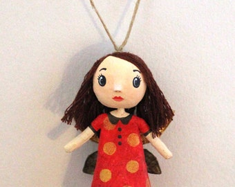 Mini doll red fairy with Golden pea