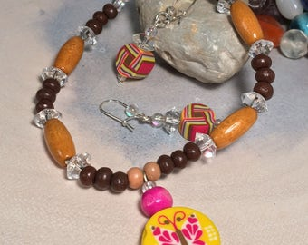 Bracelet and Earring Set/ Caramel and expresso wooden beads, crystal iridescent and polymer beads/ Silver-plated findings