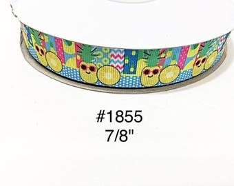 "3 or 5 yard - 7/8"" Fruit Pineapple wearing Sunglasses with Polka Dot and Zig Zag motif Grosgrain Ribbon Hair bow"