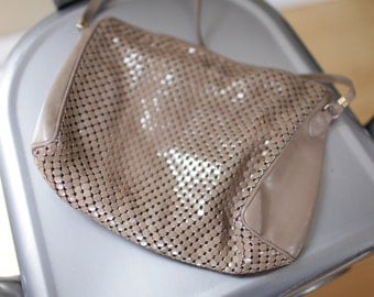 vintage tan whiting and davis leather & mesh purse