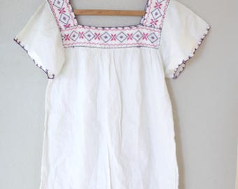 vintage white oaxacan embroidered mexican tunic top mini dress *