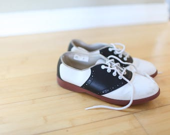 vintage saddle shoes black and white lace up oxfords kids 3