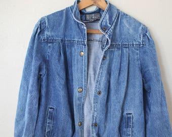 vintage slouchy pleated acid washed denim jacket