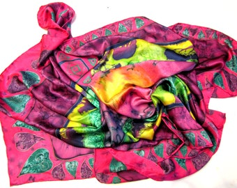 """Silk scarf. Hand painted scarves/ Batik shawl """"Heart of Africa"""" hand-painted on silk. Handmade Scarves.Magenta, green, Sunny.. Made to order"""