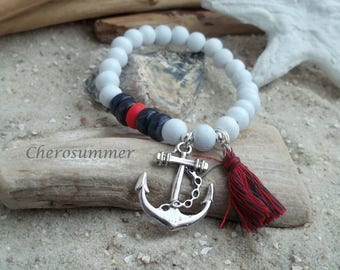 Wooden Bead Bracelet white anchor