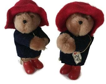 "Pair of Mini Paddington Bears Clip on Bears, Made by Eden Toys, 1985, 3.5"", Made in Korea"