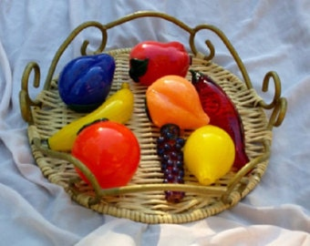 Glass Pipe Fruit Bowl Set of Eight includes Peach, Apple, Banana, Chili, Grapes, Plum, Orange and Lemon Smoking Accessory Pipes