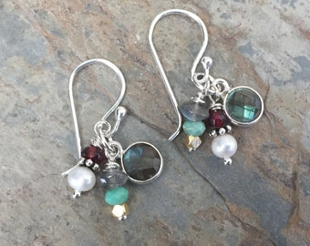 Multi Gem Cluster Earrings, Labradorite Earrings with Colored Gemstones, Sterling Silver, 1.3 inches long