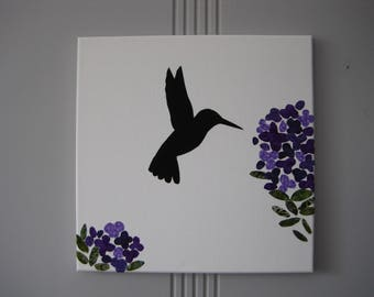Hummingbird Collage from Fabric, Bird Collage, Gift, Fabric Artwork, Silhouette, Fabric Cutouts on Canvas, Purple Flowers, Garden Lover,