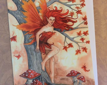 GREETINGS CARD Wild Autumn - Fantasy Art Faery Painting Birthday - with envelope