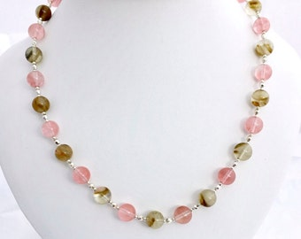 Tiger and Cherry Quartz Gemstone Necklace, Multi Coloured Beaded Jewellery, Pink Brown Semi Precious Stone Jewelry, Gift For Her, 20.5 inch