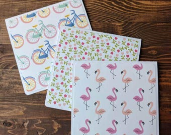 Happy Flamingos - Set of 6 or 12 Blank Cards, set of cards, square cards, gift set, envelopes included