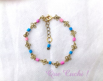 Chain bracelet with 3 mm tinted clay beads