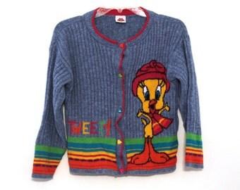Vintage 90s Looney Tunes sweater tweety cardigan