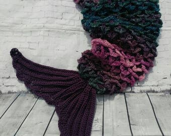 Mermaid tail blanket with fin -  Crocodile stitch - sparkle - glitter tail  - Cocoon - Crochet afghan - ***MADE to ORDER****