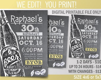 Beer Birthday Printable Invitation. 30th - 40th - 50th - 60th Birthday Party Invitation. DIY. Chalkboard Theme Invitation