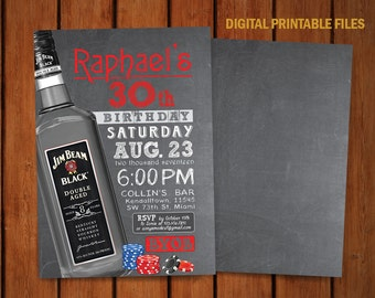 Poker Party Invitation, Poker Birthday, Bourbon Birthday Party, Whiskey Party, Casino Party, Jim Beam 30th Birthday Invitation, DIY