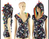 Unicorns and Rainbows Print Zipper Front Cap Sleeve DRAGON Hoodie Romper with Rainbow Stripe Spikes & Hood Lining  -152855